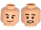 Part No: 3626cpb1380  Name: Minifigure, Head Dual Sided Black Eyebrows, Chin Dimple, Smile / Scared with Clenched Teeth Pattern (Zach) - Hollow Stud