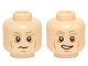 Part No: 3626cpb1422  Name: Minifigure, Head Dual Sided Gray Eyebrows, Lines, White Pupils, Neutral / Open Mouth Lopsided Grin Pattern (Han Solo) - Hollow Stud