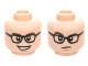 Part No: 3626cpb1442  Name: Minifigure, Head Dual Sided Black Glasses, Dark Brown Eyebrows, Open Mouth Grin / Confused Pattern (Leonard Hofstadter) - Hollow Stud