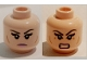 Part No: 3626cpb1479  Name: Minifig, Head Dual Sided Female Black Eyebrows, Eyelashes, Pink Lips, Cheek Lines, Frown / Bared Teeth Pattern (Karai) - Stud Recessed