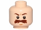 Part No: 3626cpb1493  Name: Minifigure, Head Moustache Brown Bushy Large, Brown Eyebrows, White Pupils Pattern (SW Trooper) - Hollow Stud