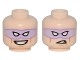 Part No: 3626cpb1517  Name: Minifigure, Head Dual Sided Lavender Eye Mask with Eye Holes, Vicious Smile / Open Mouth Corner Raised Snarl Pattern (The Riddler) - Hollow Stud