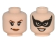 Part No: 3626cpb1519  Name: Minifigure, Head Dual Sided Female Dark Brown Pointed Eyebrows, Smirk / Black Eye Mask Pointed, Smile Pattern (Catwoman) - Hollow Stud