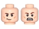 Part No: 3626cpb1540  Name: Minifigure, Head Dual Sided Brown Eyebrows, Cheek Lines, Chin Dimple, Crooked Smile / Open Mouth Grimace Pattern - Hollow Stud