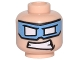 Part No: 3626cpb1542  Name: Minifigure, Head Medium Blue Eye Mask with White Eye Holes and Clenched Teeth Pattern (Captain Cold) - Hollow Stud