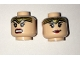 Part No: 3626cpb1563  Name: Minifigure, Head Dual Sided Female Gold Tiara, Black Eyebrows, Eyelashes, Red Lips, Lopsided Smile / Angry Pattern - Hollow Stud