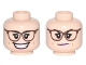Part No: 3626cpb1626  Name: Minifigure, Head Dual Sided Female Reddish Brown Glasses, Bright Pink Lips, Open Smile / Smirk Pattern (Abby Yates) - Hollow Stud