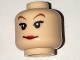 Part No: 3626cpb1633  Name: Minifigure, Head Female with Red Lips, Eyelashes, Brown Arched Eyebrows Pattern - Hollow Stud