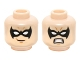 Part No: 3626cpb1638  Name: Minifigure, Head Dual Sided Male Black Eye Mask with Eye Holes, Grin / Bared Teeth Angry Pattern (Nightwing) - Hollow Stud
