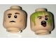 Part No: 3626cpb1647  Name: Minifigure, Head Dual Sided Reddish Brown Eyebrows, Closed Mouth / Open Mouth with Tongue, Slimed Pattern - Hollow Stud
