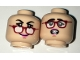 Part No: 3626cpb1649  Name: Minifigure, Head Dual Sided Female Black Eyebrows, Red Glasses and Pink Lips, Fallen Glasses / Scared Pattern - Hollow Stud