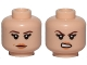Part No: 3626cpb1657  Name: Minifigure, Head Dual Sided Female, Peach Lips, Brown Eyebrows, Beauty Mark, Neutral / Angry Pattern - Hollow Stud