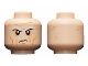 Part No: 3626cpb1658  Name: Minifigure, Head White Eyebrows, Forehead Lines, Wrinkles, Scowl Pattern - Hollow Stud