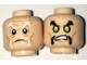 Part No: 3626cpb1688  Name: Minifigure, Head Dual Sided White and Gray Eyebrows, Moustache Fu Manchu, Wrinkles / Lime Eyes, Black Eyebrows, Pattern - Hollow Stud