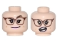 Part No: 3626cpb1693  Name: Minifigure, Head Dual Sided Female Reddish Brown Glasses, Bright Pink Lips, Crooked Smile and Raised Eyebrow / Open Mouth Angry Pattern - Hollow Stud