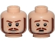 Part No: 3626cpb1729  Name: Minifig, Head Dual Sided Brown and Gray Beard, Brown Eyebrows, Moustache, White Pupils, Frown / Scared Pattern (SW Qui-Gon) - Stud Recessed