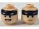 Part No: 3626cpb1865  Name: Minifigure, Head Dual Sided Black Headband with Squinted Batman Eyes, Neutral / Grin Pattern - Hollow Stud