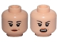 Part No: 3626cpb1910  Name: Minifig, Head Dual Sided Female Black Eyebrows, Light Orange Lips and Beauty Mark, Neutral / Angry Pattern (SW Rose) - Stud Recessed