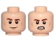 Part No: 3626cpb2108  Name: Minifigure, Head Dual Sided Brown Eyebrows, Cheek Lines, Chin Dimple, Smile / Angry Pattern (SW Han Solo) - Hollow Stud