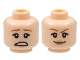 Part No: 3626cpb2128  Name: Minifigure, Head Dual Sided Female Dark Orange Eyebrows, Peach Lips, Scared / Smirk Pattern - Hollow Stud