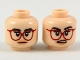 Part No: 3626cpb2140  Name: Minifigure, Head Dual Sided Female Black Eyebrows, Red Glasses, Peach Lips, Neutral / Surprised Expression Pattern - Hollow Stud