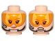 Part No: 3626cpb2171  Name: Minifig, Head Female Dual Sided Brown Eyebrows, Orange Visor, Chin Strap, Headset, Smile / Angry Pattern - Hollow Stud