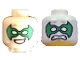 Part No: 3626cpb2248  Name: Minifigure, Head Dual Sided Male Green Eye Mask with Eye Holes, Smile / Scared Pattern (Robin) - Hollow Stud
