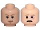 Part No: 3626cpb2262  Name: Minifigure, Head Dual Sided Dark Tan Eyebrows, Chin Dimple, White Pupils, Stern / Scared, Sunken Left Eye Pattern (SW Luke Skywalker) - Hollow Stud