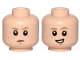 Part No: 3626cpb2282  Name: Minifigure, Head Dual Sided Male Freckles, Dark Tan Eyebrows, Chin Dimple on Both Sides, Concern / Crooked Smile Pattern (SW Anakin) - Hollow Stud