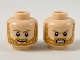 Part No: 3626cpb2343  Name: Minifigure, Head Dual Sided, Medium Dark Flesh Eyebrows and Beard with Yellow Highlights, Smile / Fierce Pattern - Hollow Stud