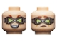 Part No: 3626cpb2375  Name: Minifigure, Head Dual Sided Reddish Brown Eyebrows, Silver Goggles with Lime Triangular Lenses, Evil Grin / Worried Expression Pattern - Hollow Stud