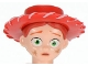 Part No: 87764pb02  Name: Minifigure, Head Modified Female with Red Hat and Ponytail, Dirt Stains Pattern (Jessie)