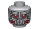 Part No: 3626cpb1114  Name: Minifig, Head Alien with Robot Red Eyes and Mouth and Silver Metal Plates Eyebrows and Mask Pattern - Stud Recessed