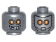 Part No: 3626cpb1502  Name: Minifig, Head Dual Sided Alien Robot with Yellow Eyes, Mask with Metal Bolts, Closed Mouth / Open Mouth Pattern - Hollow Stud