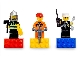 Gear No: 852513  Name: Magnet Set, Minifigures Town City (3) - Firefighter, Construction Worker, Police Officer - with 2 x 4 Brick Bases blister pack
