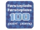 Gear No: racegame1stpl3  Name: Racers Game 1st Place Card with White 'Førsteplads/Førsteplass 100 point/poeng' Pattern