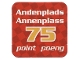 Gear No: racegame2ndpl3  Name: Racers Game 2nd Place Card with White 'Andenplads/Annenplass 75 point/poeng' Pattern