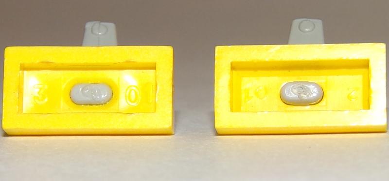 Sole Sfumatura 69c02 LEGO Tap 1x2 base con Cromo Argento beccuccio - Bianco x1