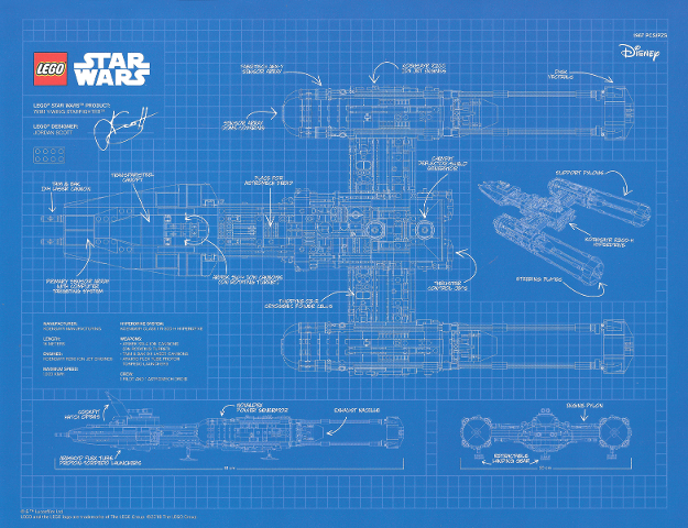 Lego Star Wars 2018 UCS Y Wing Blueprint Poster May 4th Promo