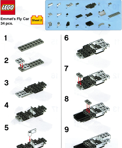 Bricklink Gear Truemcarfly Lego Toys R Us Exclusive Build Instructions Emmet S Fly Car Sheet 2 Building Event Instructions The Lego Movie Bricklink Reference Catalog