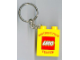 Gear No: 4066pb341  Name: Duplo, Brick 1 x 2 x 2 with LEGO Distribution Center Pattern Red - Key Chain