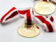 Gear No: 4175258  Name: Medal with Ribbon Red and White, Soccer - Metal