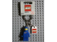 Gear No: 4243693  Name: Classic Space Blue Figure Key Chain with Lego Logo Tile, Modified 3 x 2 Curved with Hole