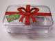 Gear No: 4613985box  Name: Storage Box Plastic with 'Build a Bullseye!' and Red Ribbon Pattern