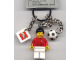 Gear No: 850343  Name: Soccer Player with Ball Key Chain with 2 x 2 Square Lego Logo Tile