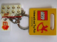 Gear No: 852445a  Name: 2 x 4 Brick - Chrome Gold Key Chain with Lego 50 Year Anniversary Logo Tile, Modified 3 x 2 Curved with Hole - International Toy Fair Promo