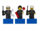 Gear No: 853304  Name: Magnet Set, Minifigures Town City (3) - Police Officers - Glued with 2 x 4 Brick Bases blister pack