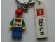 Gear No: 853306  Name: Minifigure Male with German Flag and 'BERLIN' on Front Key Chain with LEGO Logo Tile, Modified 3 x 2 Curved and Tile 2 x 4 with 'BERLIN' Pattern