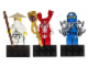 Gear No: 853404  Name: Magnet Set, Minifigures Ninjago (3) - Sensei Wu, Fangpyre, Jay - Glued with 2 x 4 Brick Bases blister pack