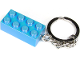 Gear No: 853993  Name: 2 x 4 Brick - Satin Bright Light Blue Key Chain